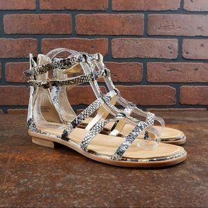 SEYCHELLES Aim High Snake-Emboss Gladiator Sandals